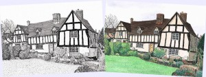 Dawn Monks Pen & Ink Illustration - 17th Century Yeomans' Cottages