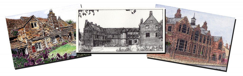 Pen, ink & watercolour buildings illustrations
