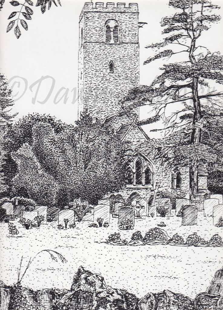 Pen & Ink Illustration Clapham Church