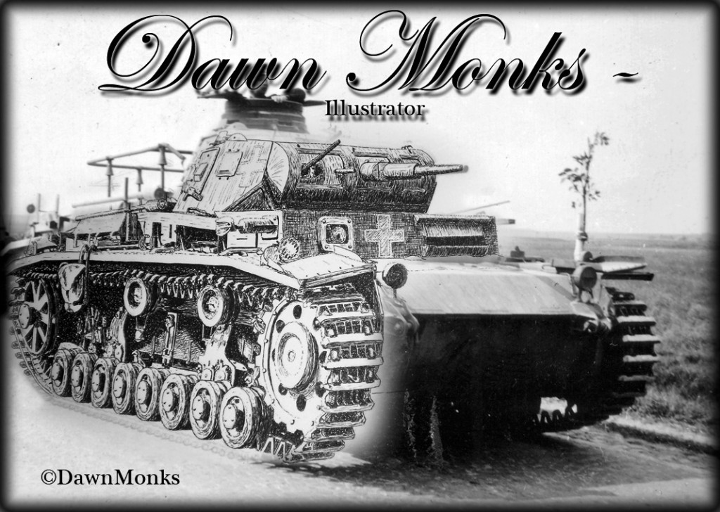 German WW2 Panzer III Tank - Photograph overlaid with pen & ink