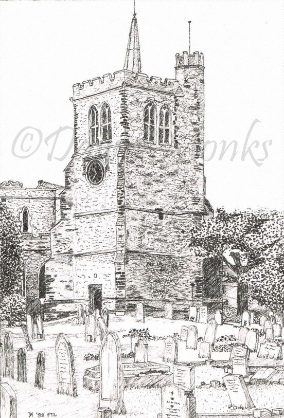 Pen & Ink Illustration, Elstow Abbey