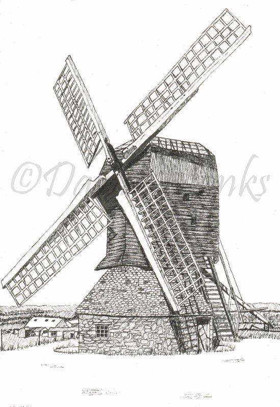 Pen & Ink Illustration Stevington Windmill
