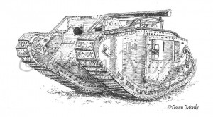 British WW1 Mk IV Tank Illustration
