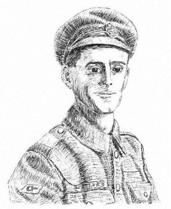 Pen & ink portrait of WW1 soldier