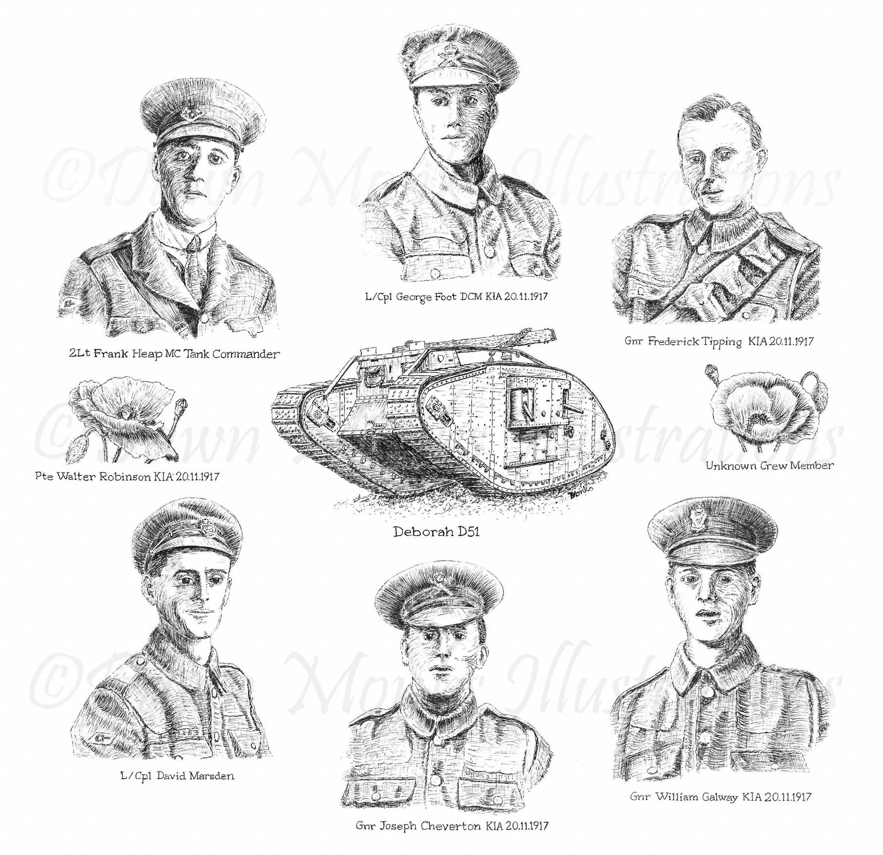 Dawn Monks Pen & Ink Illustration - WW1 Tank Crew - Deborah D51