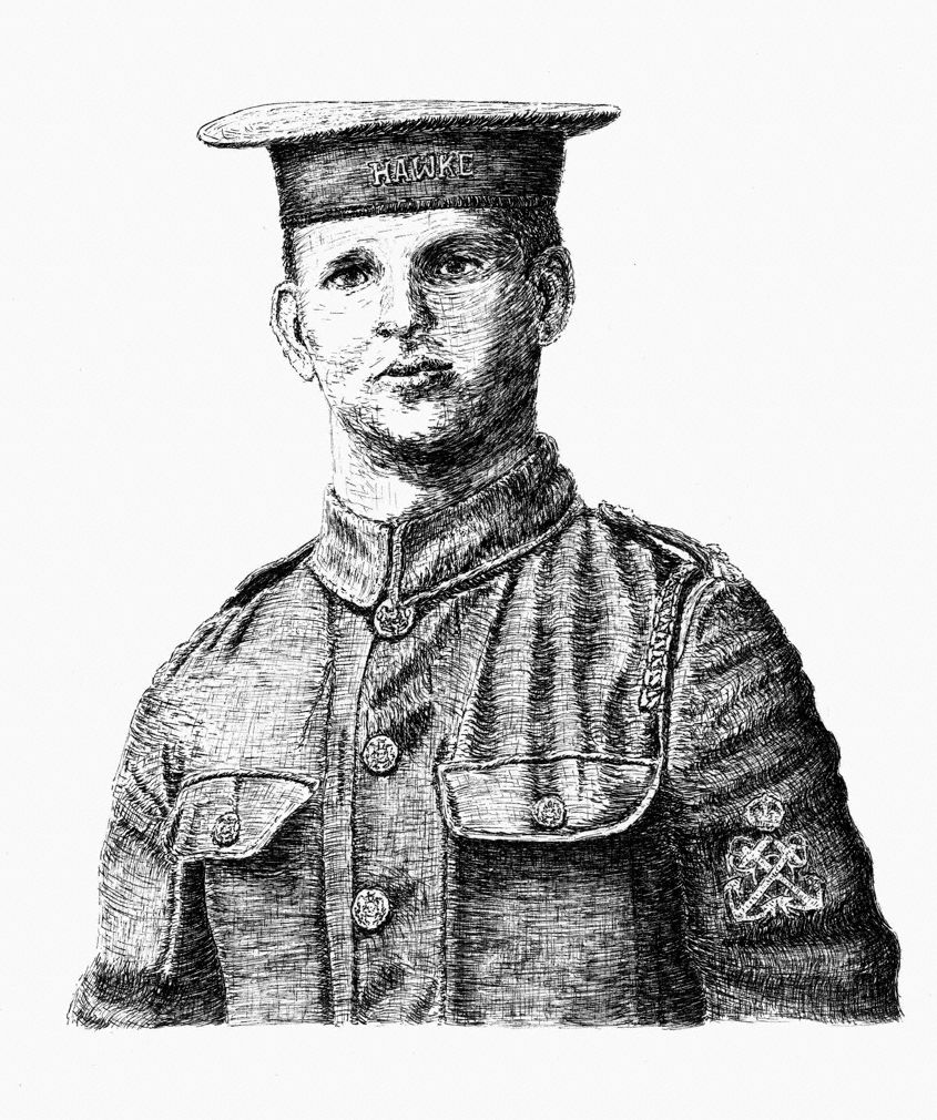 WW1 Pen & Ink Portrait - Harry Chalmers RND