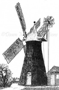 North Leverton Windmill - Pen & Ink Illustration