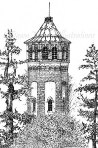 Gainsborough Victorian Water Tower - Pen & Ink Illustration