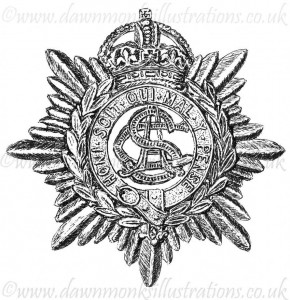 Army Service Corps Cap Badge - Pen & Ink Book Illustration - Bellewaarde 1915