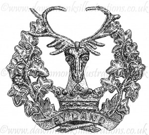 Gordon Highlanders Cap Badge - Pen & Ink Book Illustration - Bellewaarde 1915
