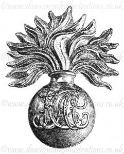 Honourable Artillery Company Cap Badge - Pen & Ink Book Illustration - Bellewaarde 1915