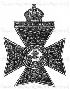 King's Royal Rifle Corps Cap Badge - Pen & Ink Book Illustration - Bellewaarde 1915