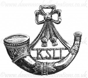 King's Shropshire Light Infantry Cap Badge - Pen & Ink Book Illustration - Bellewaarde 1915