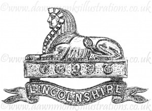 Lincolnshire Regiment Cap Badge - Pen & Ink Book Illustration - Bellewaarde 1915