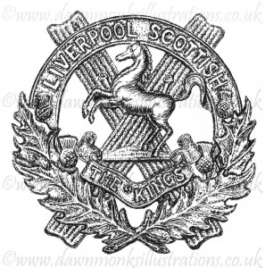 10th King's Liverpool Scottish Cap Badge - Pen & Ink Book Illustration - Bellewaarde 1915