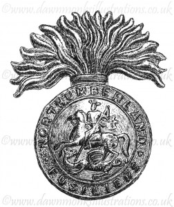 Northumberland Fusiliers Cap Badge - Pen & Ink Book Illustration - Bellewaarde 1915