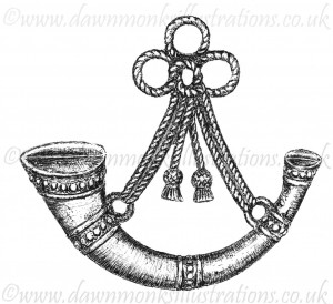 Oxfordshire & Buckinghamshire Light Infantry Cap Badge - Pen & Ink Book Illustration - Bellewaarde 1915