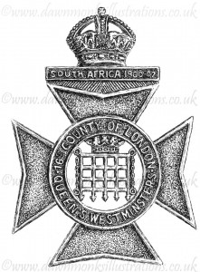 Queen's Westminster Rifles Cap Badge - Pen & Ink Book Illustration - Bellewaarde 1915