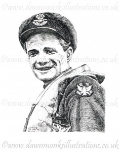 Pen & Ink Portrait of Eugene 'Red' Tobin - American RAF pilot - WW2