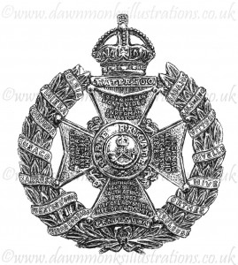 Rifle Brigade Cap Badge - Pen & Ink Book Illustration - Bellewaarde 1915