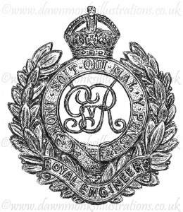 Royal Engineers Cap Badge - Pen & Ink Book Illustration - Bellewaarde 1915