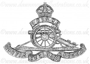 Royal Artillery Cap Badge - Pen & Ink Book Illustration - Bellewaarde 1915