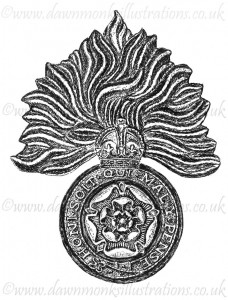 Royal Fusiliers Cap Badge - Pen & Ink Book Illustration - Bellewaarde 1915