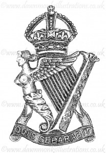 Royal Irish Rifles Cap Badge - Pen & Ink Book Illustration - Bellewaarde 1915