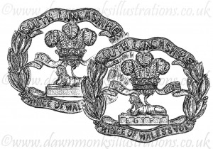South Lancashire Cap Badges - Pen & Ink Book Illustration - Bellewaarde 1915