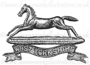 West Yorkshire Regiment Cap Badge - Pen & Ink Book Illustration - Bellewaarde 1915