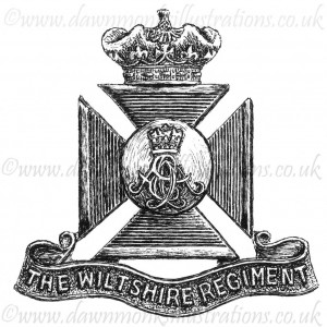 Wiltshire Regiment Cap Badge - Pen & Ink Book Illustration - Bellewaarde 1915