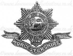 Worcestershire Regiment Cap Badge - Pen & Ink Book Illustration - Bellewaarde 1915