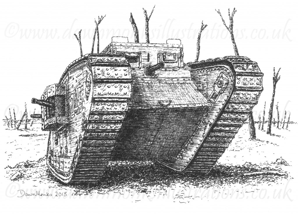 T-shirt Design - British MkIV Tank - WW1