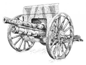 76mm 1902 Gun - Pen & ink military illustration