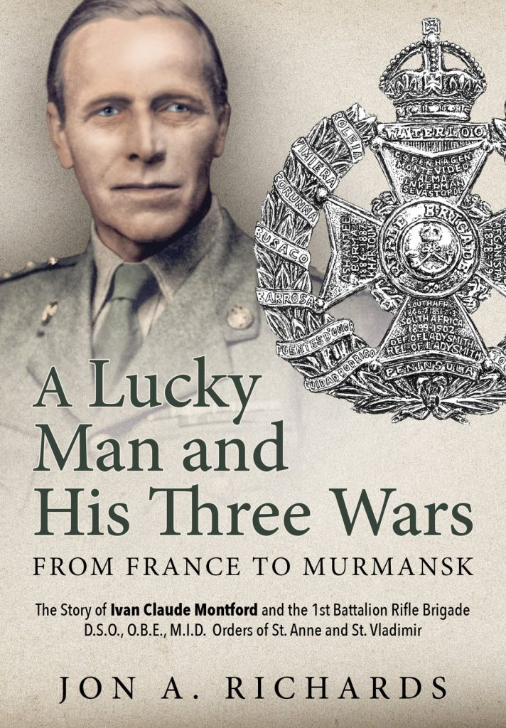 A Lucky Man and His Three Wars - Book Cover Featuring Rifle Brigade Cap Badge Illustration