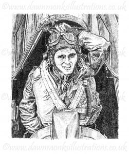 Oscar Hoffman Coen - WW2 American Fighter Pilot - RCAF, RAF, USAAF - Pen & Ink Portrait