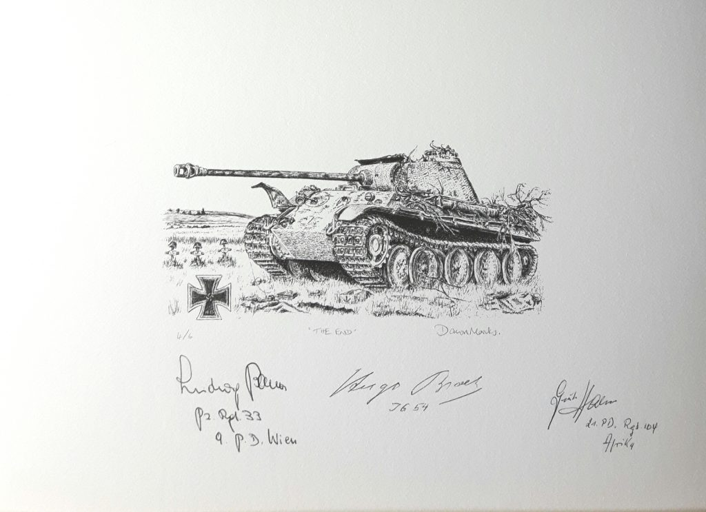 """The End"" - Panther Pen & Ink Print Signed by Knight's Cross Holders"