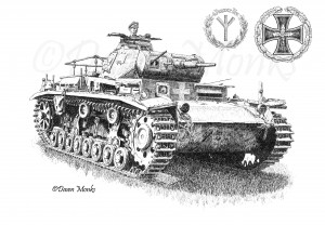 German WW2 Panzer III Tank Pen & Ink Illustration